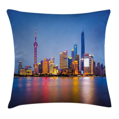 Shanghai City Skyline Square Pillow Cover Size: 18 x 18