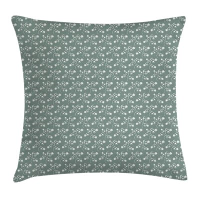 Floral Tulip Twigs Buds Square Pillow Cover Size: 16 x 16