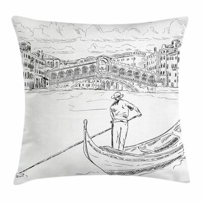 Rialto Bridge Gondola Square Pillow Cover Size: 24 x 24