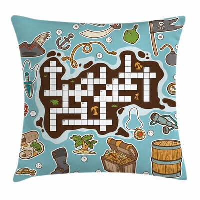 Puzzle Kids Cartoon Square Cushion Pillow Cover Size: 24 x 24