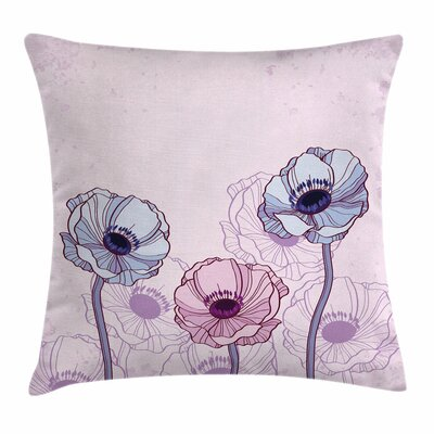Anemone Retro Buds Field Square Cushion Pillow Cover Size: 20 x 20