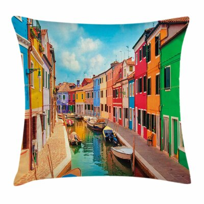 Buildings Boats Square Pillow Cover Size: 20 x 20