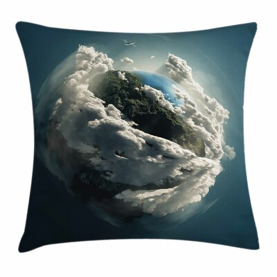 Earth Planet Majestic Clouds Square Pillow Cover Size: 16 x 16