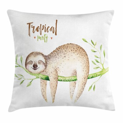 Young Sloth on Palm Tree Square Pillow Cover Size: 16 x 16