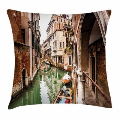 Famous Water Canal Boats Square Pillow Cover Size: 16 x 16