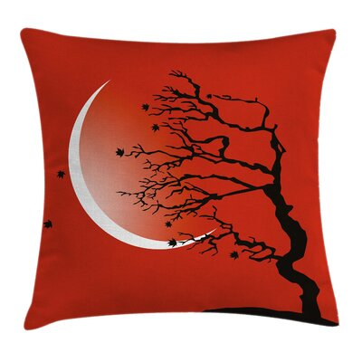 Digital Scene Tree Moon Square Pillow Cover Size: 18 x 18