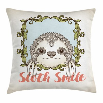 Sloth Cute Floral Frame Square Pillow Cover Size: 16 x 16