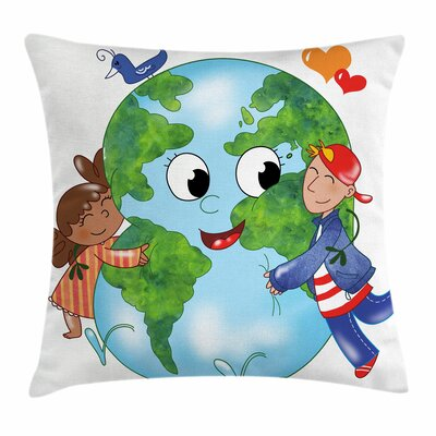 Earth Cute Kids Hugging Planet Square Pillow Cover Size: 16 x 16
