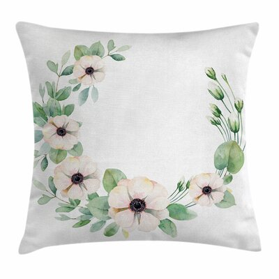 Anemone Fresh Plants Square Cushion Pillow Cover Size: 16 x 16