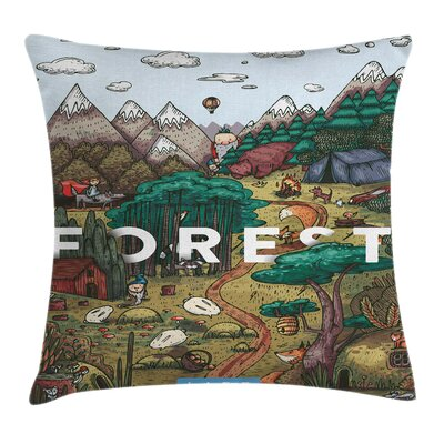 Mountain Range Valley Square Pillow Cover Size: 18 x 18