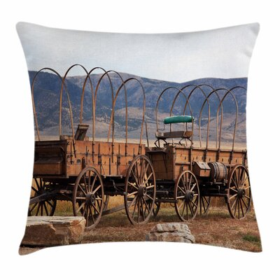 Wheel Vintage Western Square Pillow Cover Size: 24 x 24