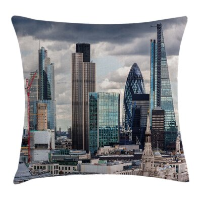 London Modern Cityscape Square Pillow Cover Size: 16 x 16