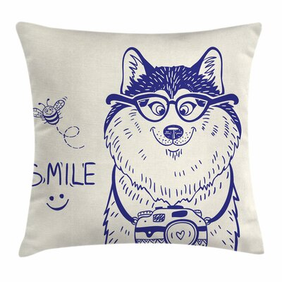 Cartoon Puppy Square Pillow Cover Size: 24 x 24