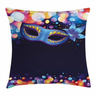 Vivid Carnival Mask Square Pillow Cover Size: 16 x 16