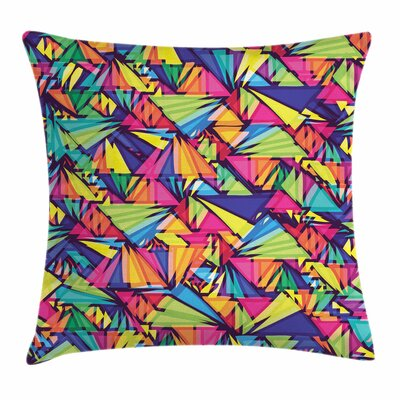 Geometric Triangles Art Square Cushion Pillow Cover Size: 16
