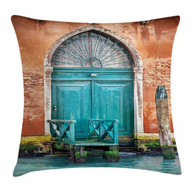 Ancient Building Door Square Pillow Cover Size: 16 x 16