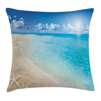 Beach Sunny Seashore and Shells Square Pillow Cover Size: 24 x 24