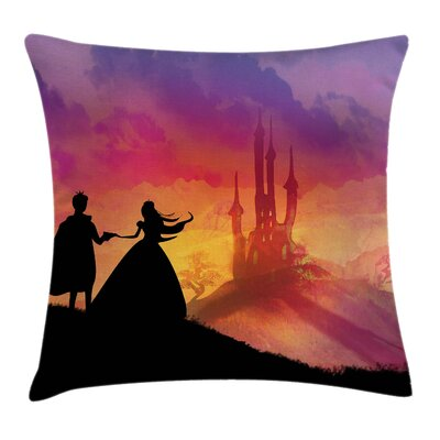 Fantasy Prince Princess Castle Square Pillow Cover Size: 18 x 18