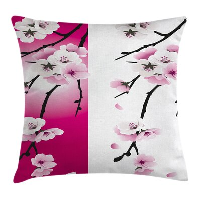 Waterproof Floral Square Pillow Cover with Zipper Size: 18 x 18