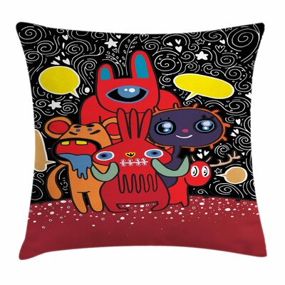 Monster Funny Characters Square Cushion Pillow Cover Size: 24 x 24