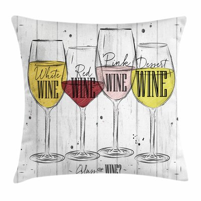 Wine Four Types of Wine Rustic Square Pillow Cover Size: 16