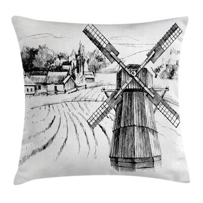 Farm Town Houses Mill Square Pillow Cover Size: 18 x 18