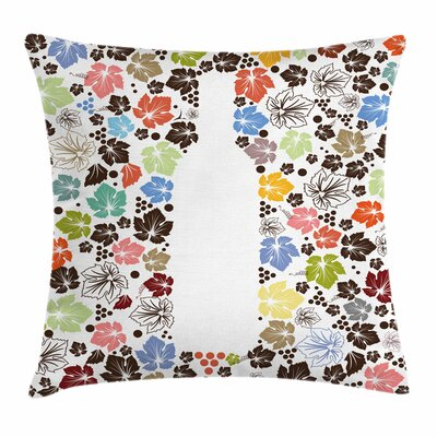 Wine Fallen Leaves Dots Bottle Square Pillow Cover Size: 18 x 18