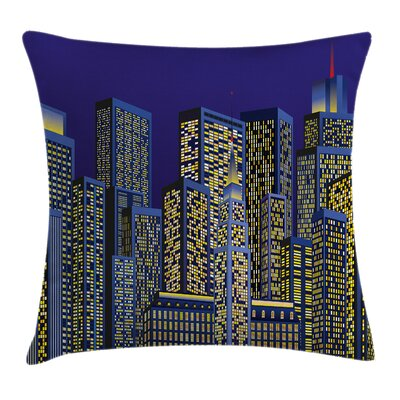 Cartoon Cityscape Cushion Pillow Cover Size: 16 x 16