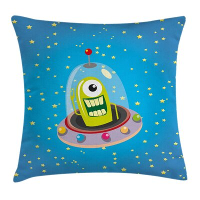 Cute Comic UFO and Alien Square Pillow Cover Size: 16 x 16