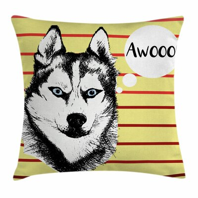 Husky Portrait Square Pillow Cover Size: 24 x 24