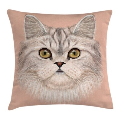 Love Cat Portrait Cushion Pillow Cover Size: 18 x 18