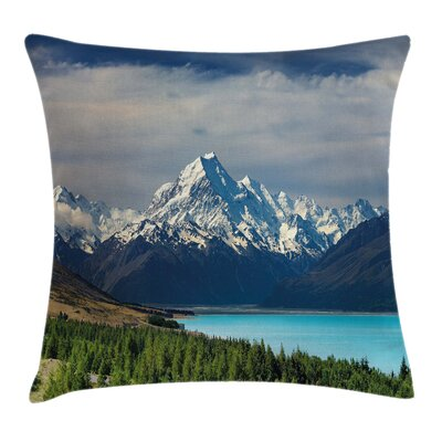 Mount Cook Pukaki Lake Square Pillow Cover Size: 18 x 18