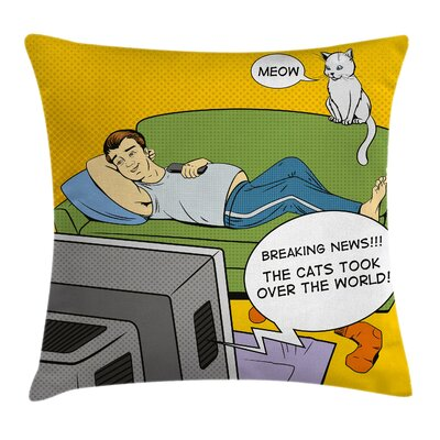 Man TV Cat Comic Book Cushion Pillow Cover Size: 18 x 18