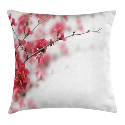 Japanese Cherry Blossoms Misty Square Pillow Cover Size: 24 x 24