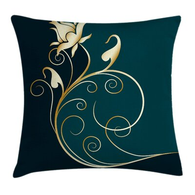 Modern Floral Graphic Pillow Cover with Zipper Size: 18 x 18