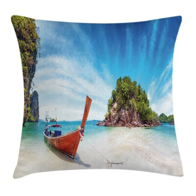 Exotic Beach Square Pillow Cover Size: 16 x 16