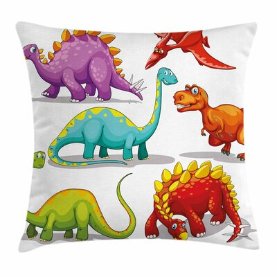 Dinosaur Friendly Fun Wildlife Square Cushion Pillow Cover Size: 24 x 24