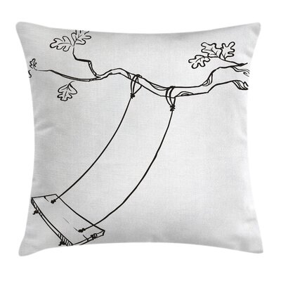 Outdoor Sketchy Tree Swing Joy Square Pillow Cover Size: 16 x 16