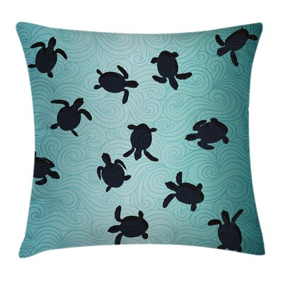 Baby Turtles Deep Sealife Cushion Pillow Cover Size: 16