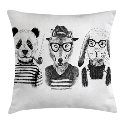 Hipster Panda Cigar Fox Square Pillow Cover Size: 16 x 16
