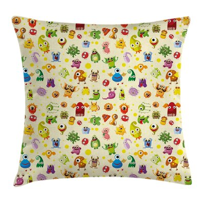 Cute Cartoon Monsters Square Pillow Cover Size: 24 x 24