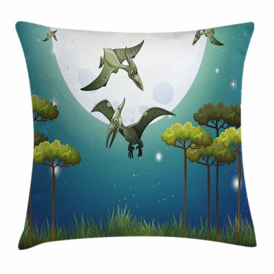 Dinosaur Flying Cartoon Animals Square Cushion Pillow Cover Size: 16 x 16