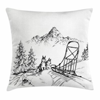Alaskan Malamute Winter Woods Square Pillow Cover Size: 16 x 16