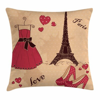 Heels and Dresses Retro French Square Pillow Cover Size: 18 x 18