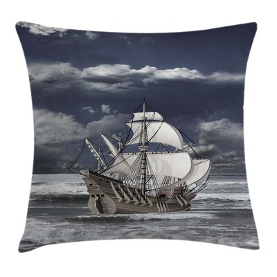 Caribbean Pirates Ship Square Pillow Cover Size: 18 x 18