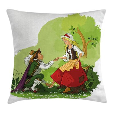 Prince Glass Shoe Girl Square Pillow Cover Size: 18 x 18