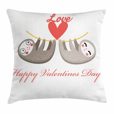 Lovely Sloth Tropical Square Pillow Cover Size: 24 x 24