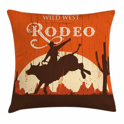 Rodeo Cowboy Rides Bull Square Pillow Cover Size: 18 x 18