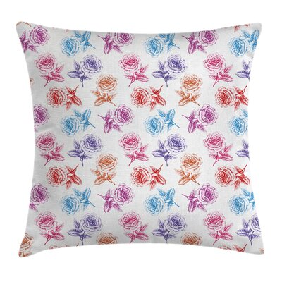 Romantic Rose Petals Square Pillow Cover Size: 20 x 20