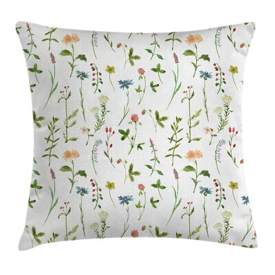 Herb Flowers Watercolors Square Pillow Cover Size: 16 x 16